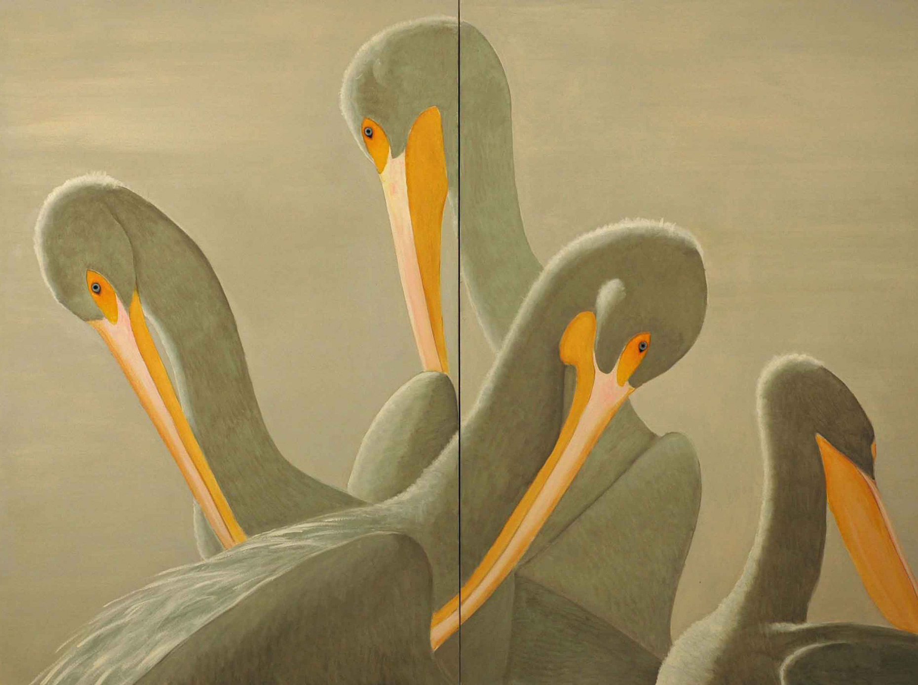 American White Pelicans 72x96 2011 diptych - fullx