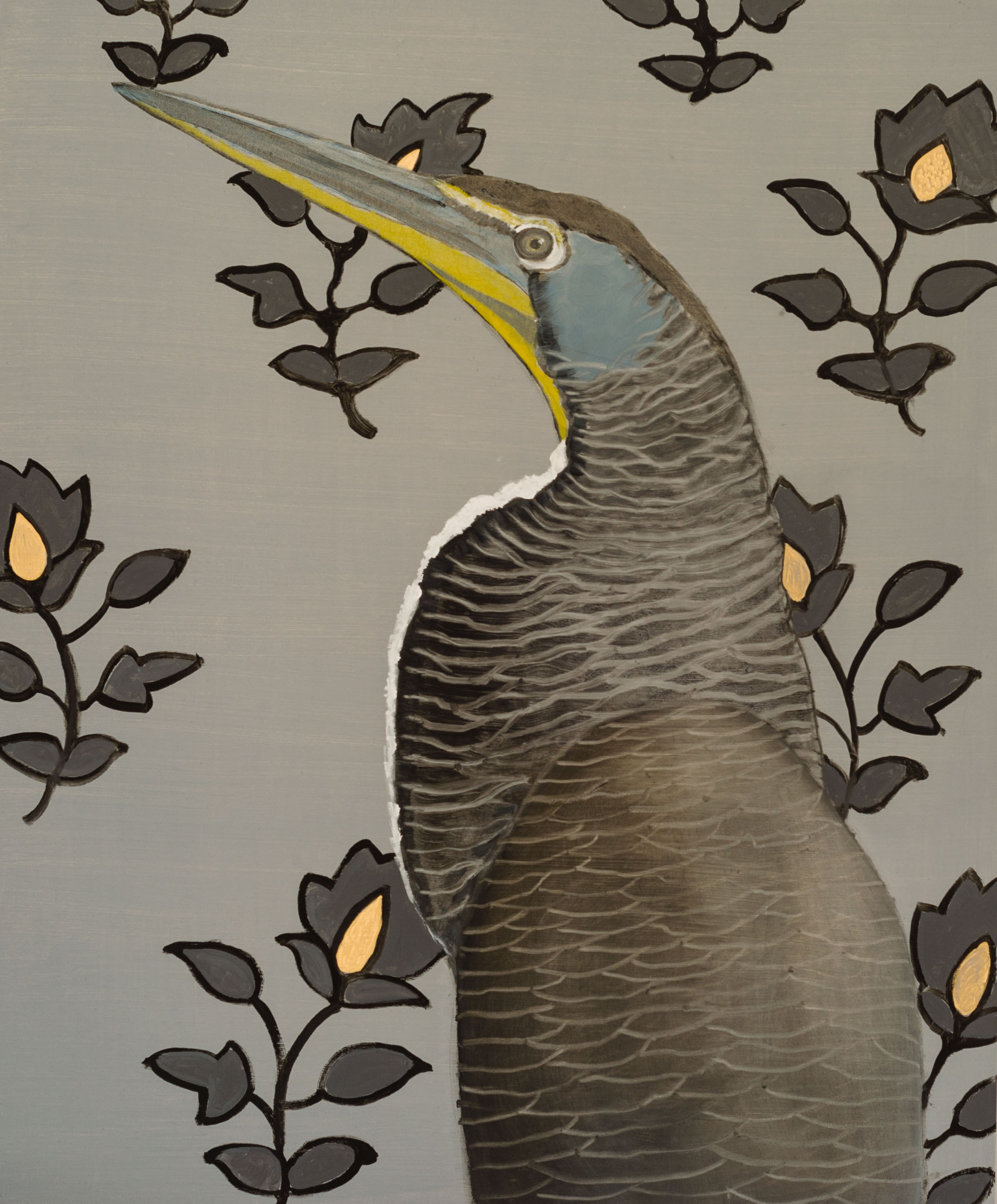 Bare-throated Tiger Heron 36x30 Oil on panel 2015 web