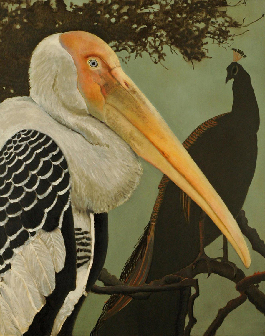 Painted Stork and Peafowl 60x48 2012 - full adx