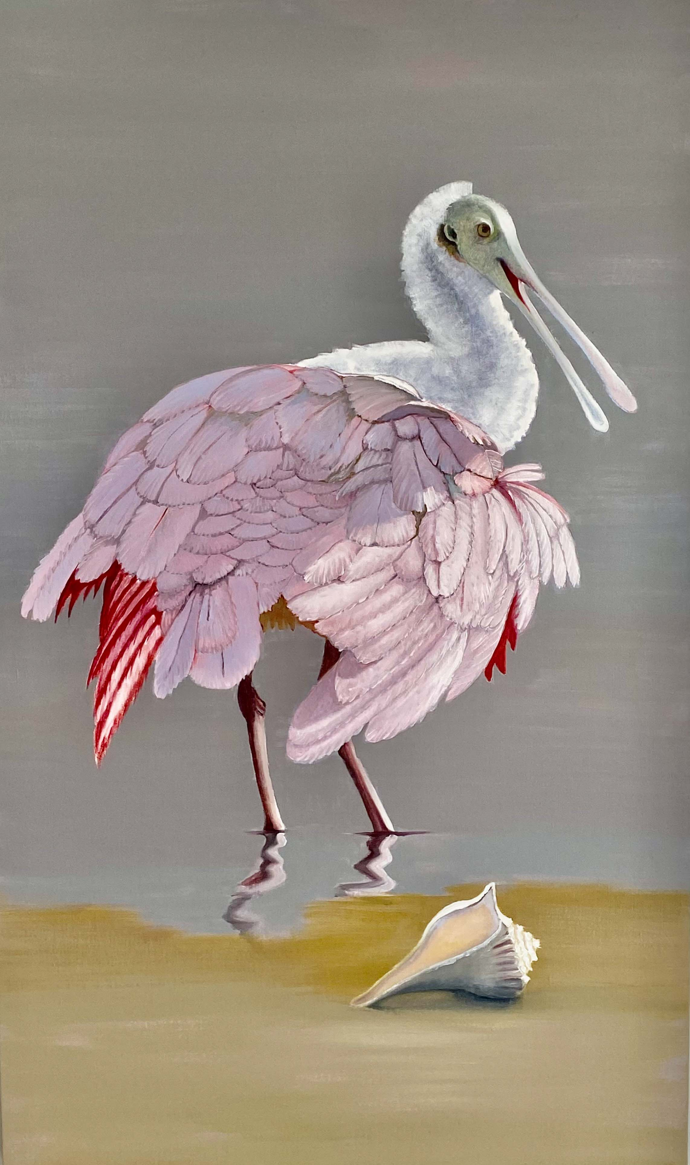 RoseateSpoonbillwithConchShell-3-2