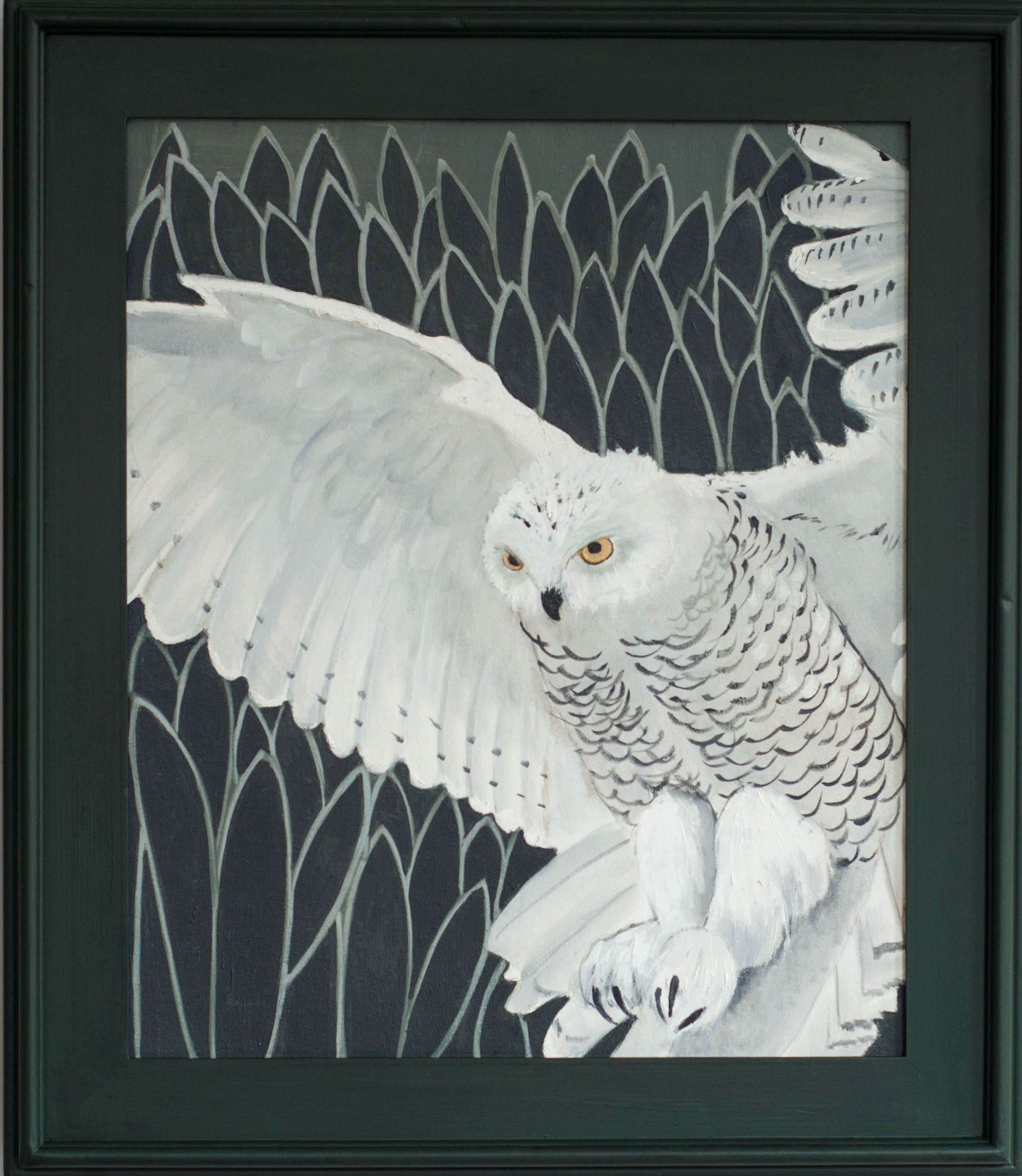 Snowy Owl In Flight - 30x26 (framed) - Oil on canvas - 2015 web